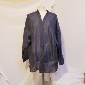 EILEEN FISHER Slate Blue Open Front Sheer Kimono